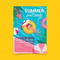 cartel de natación de verano vector