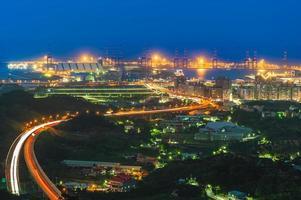 Aerial view of Taipei harbor, Taiwan at night photo
