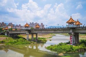 Changfu Bridge near Sanxia old street and Zushi Temple in New Taipei, Taiwan photo