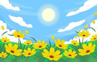 Summer Scenery Yellow Flowers in the Garden vector