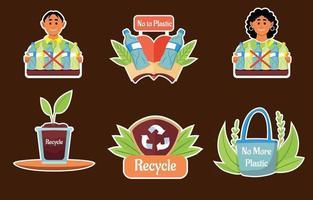 No Plastic Sticker vector