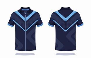 plantilla de jersey de bicicleta azul tira vector