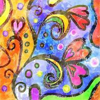 Folk Art Watercolor Pattern Texture vector