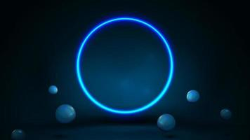 Blue scene with realistic bouncing spheres and neon ring. vector