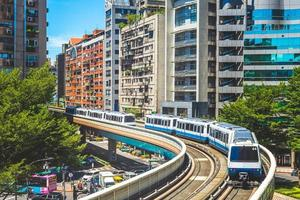 Wenhu or Brown line of Taipei Metro in Taipei, Taiwan photo