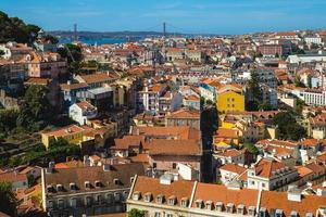 25th of April Bridge and Lisbon skyline, the capital city of Portugal photo
