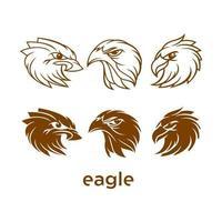 Eagle head set design logo vector
