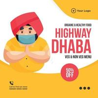 Banner design of organic and healthy food on highway Dhaba template vector