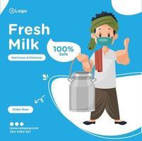 Fresh milk banner design template vector