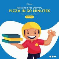 Banner design of pizza in 30 minutes template vector