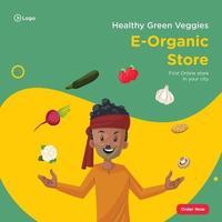 Banner design of healthy green veggies e-organic store vector