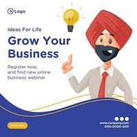 Ideas for life and grow your business banner design vector