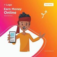 Earn money online banner design vector