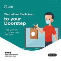 We deliver medicines to your doorstep banner design vector