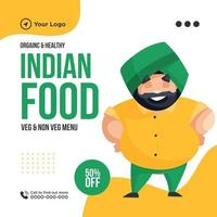 Banner design of organic and healthy indian food template vector