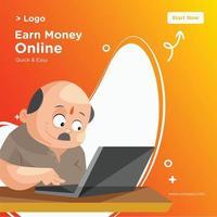 Banner design of earn money online template vector