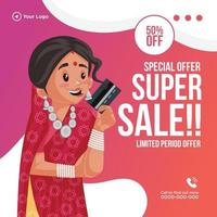 Special offer super sale banner design template vector