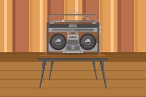 radio portátil vintage en mesa con diseño plano vector