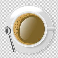 Top view of white coffee cup with plate and spoon on transparent background vector