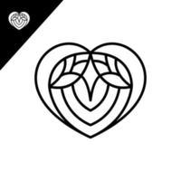 Heart line art design vector