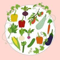 Verduras en marco redondo pimiento rábano remolacha zanahoria nabo tomate berenjena apio maíz lechuga pepino vector