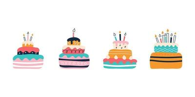 un conjunto de pasteles de colores brillantes sobre un fondo blanco al estilo de garabatos planos. ilustración vectorial. decoración de la habitación de los niños, carteles, postales, ropa y artículos de interior vector