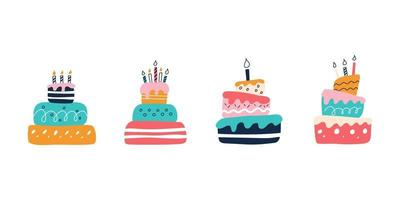 A set of bright colorful cakes on a white background in the style of flat doodles. Vector illustration. Children's room decor, posters, postcards, clothing and interior items
