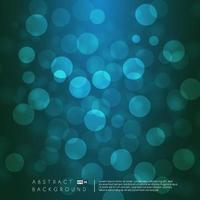 Blue and green bokeh lights background. Blurred bright abstract bokeh on light background. Holiday glowing lights with sparkles. Festive defocused lights. Vector illustration