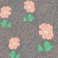 Seamless pattern with flowers hand drawing vector illustration