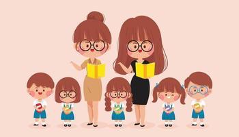 Happy Teacher and kids school cartoon art illustration vector