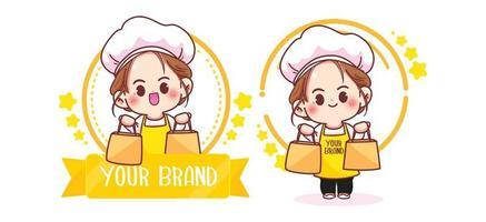 Cute woman chef logo cartoon art illustration vector