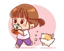 Happy girl drinking bubble milk tea cartoon art illustration vector