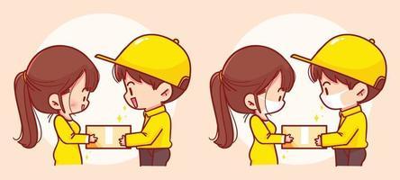 Delivery parcel to customer cartoon art illustration vector
