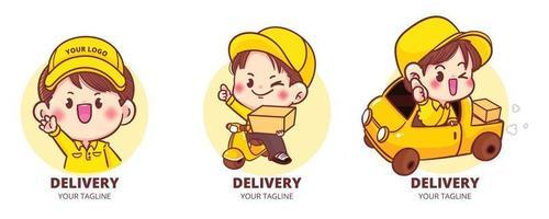 Set of Cute Delivery logo cartoon art illustration vector