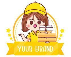 Cute woman Delivery logo cartoon art illustration vector