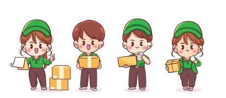 Set of Cute Delivery Man and woman cartoon art illustration vector