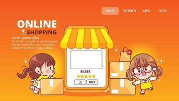 Hand drawn online shopping web banner cartoon art illustration vector