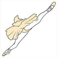Ballet. Ballerina's legs in a tutu and pointe. Line art. vector