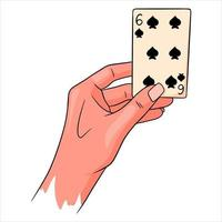 Gambling. Playing card in hand. Casino, luck, fortuna. Six of spades. vector