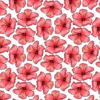 Tropical pattern with exotic flowers in cartoon style vector