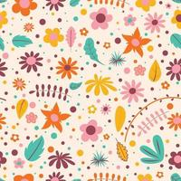 Seamless Pattern Design With  Colorful Flowers vector