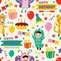 Seamless Pattern Design With  Cartoon Character vector