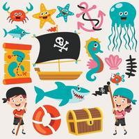 conjunto de elementos marinos de dibujos animados vector
