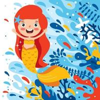 Cute Beautiful Cartoon Mermaid Posing vector