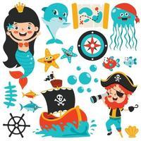 Set Of Cartoon Sea Elements vector