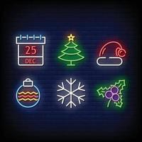 Merry Christmas Symbol Neon Signs Style Vector