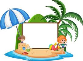 Empty banner template with kids character on summer vacation at the beach on white background vector