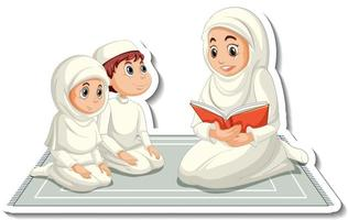 A sticker template with muslim people mother reading a book to her children vector