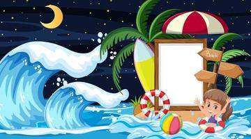 Kids on vacation at the beach night scene with an empty banner template vector