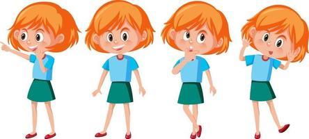 personaje de dibujos animados de una niña con diferentes poses vector
